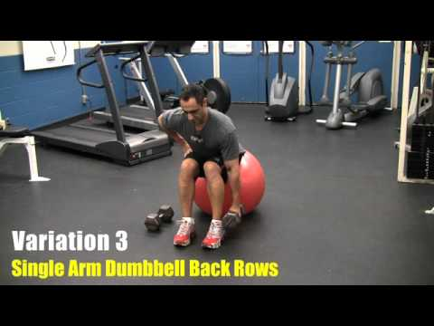 Stability Ball Dumbbell Rows