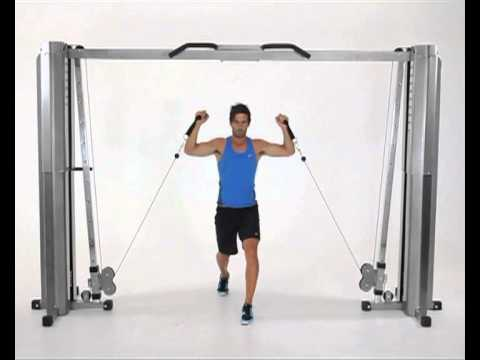 Lunges with Cable Shoulder Press