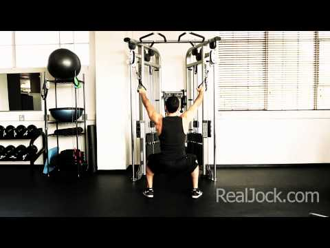 Low Squat Hold Dual Cable Wide Pulldowns