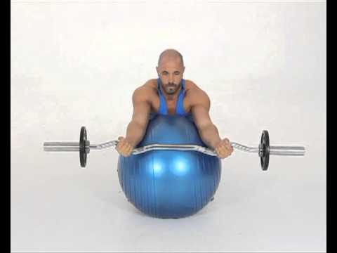 EZ Bar Preacher Curls with Arms Over Fit Ball