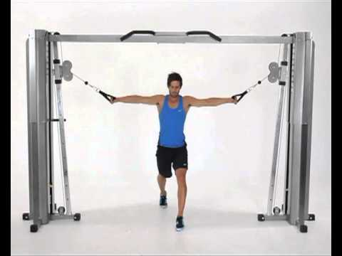 Lunges with Cable Decline Chest Fly